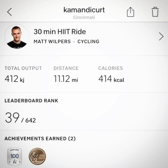 """The output for my """"Century Club"""" ride with Peloton."""