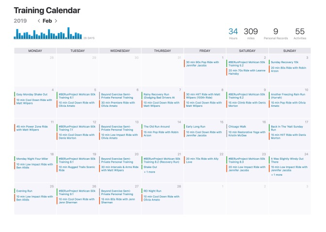 My Strava training calendar for February 2019. #nodaysoff