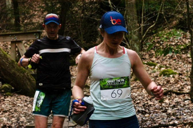 Me and my wife on the course of the Forget the PR Mohican 50k. Photo by Michael Semick.