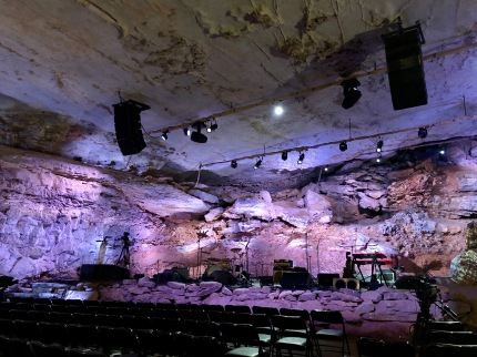 The stage setup in The Caverns, home to the Bluegrass Underground. Photo by Curt Whitacre.