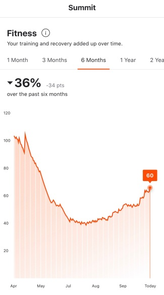 A screen capture of my Strava Summit fitness data.